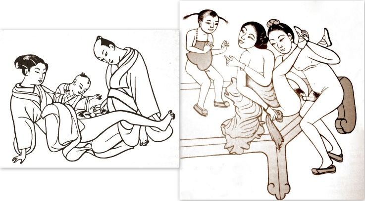 If you have reservations about honestly answering a little child where little babies come, then remind yourself that just using words to explain it isn't all that bad. In earlier centuries in the far east, parents didn't even have reservations demonstrating... (On the left, a Japanese image from around 1766 by Suzuki Harunobu; on the right  a Chinese image dating from the Ming dynasty.)