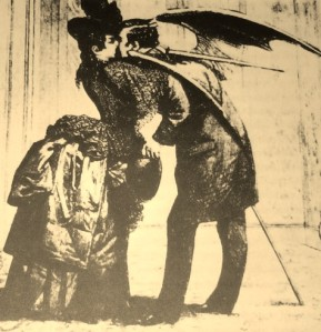 Victorian elegance, the layer of 'humanity' covering the lust of the vampire (depicted with batlike wings).