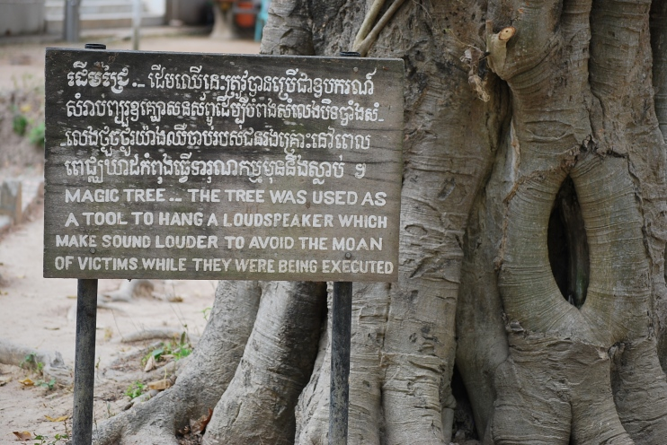 At another tree, loudspeakers were hung and used to mask the death cries of people that were brutally murdered at these killing fields.