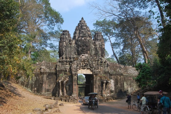 One of the passageways of Cambodia's famous Angkor temple complex, familiar to many thanks to the Tomb Raider movie.